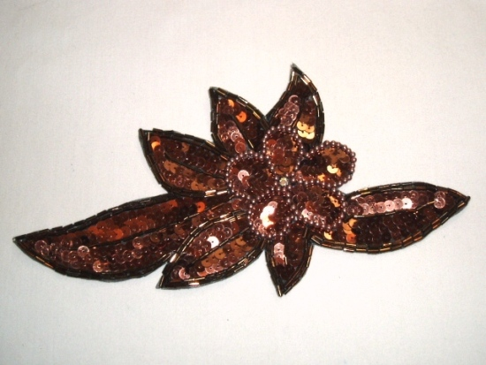K8924  Bronze Floral Sequin Beaded Applique 8.25
