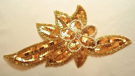 K8924  Gold Pearl Floral Sequin Beaded Applique 8.25