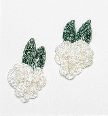 E3604  Ivory Crochet Ribbon Floral Applique Pair 2.25\