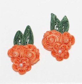 E3604  Coral Crochet Ribbon Floral Applique Pair 2.25\