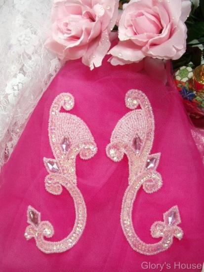 Pink Jeweled Mirror Pair 6 Sequin Beaded Appliques  0034