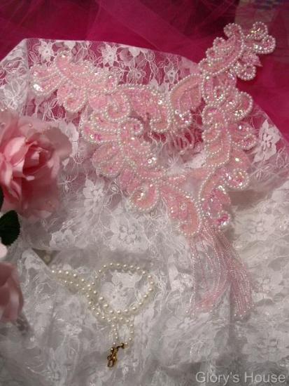 0037  Pink Bodice Yoke 10\ Sequin Beaded Applique