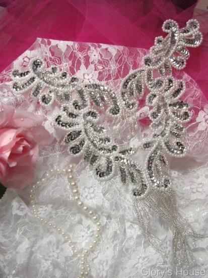 0037 Silver Pearl Bodice Yoke 10\ Sequin Beaded Applique