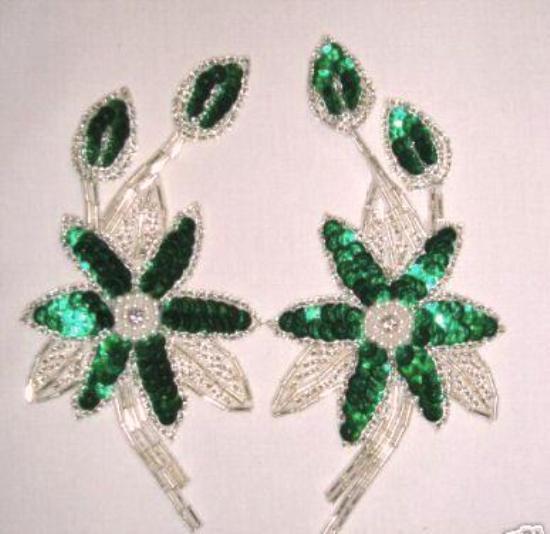 K8109 Green Silver Mirror Pair Sequin Beaded Appliques 5.5