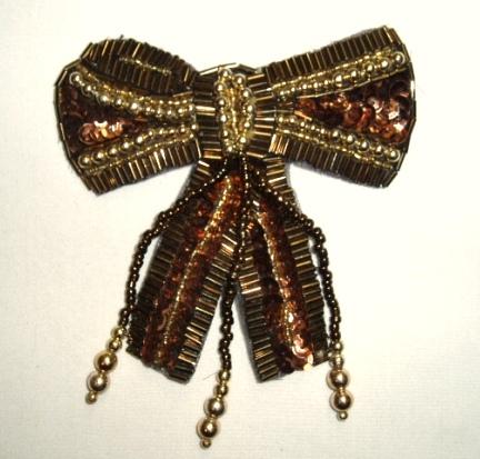 K8931  Bronze Dangle Bow Sequin Beaded Applique 3.5\