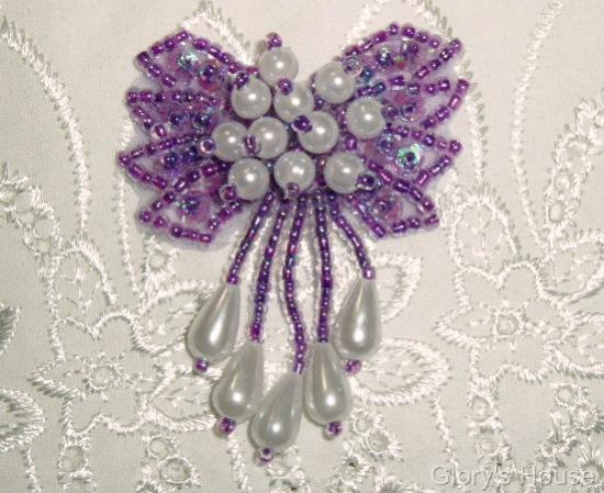 0036 Lavender and White 2\ Sequin Beaded Applique  0036
