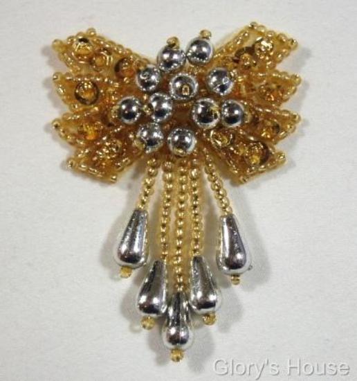 0036 Gold & Silver Bow 2\  Sequin Beaded Applique  0036