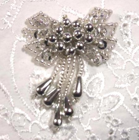 0036 Silver Bow 2\ Sequin Beaded Applique  0036