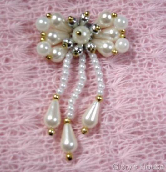 White Gold Silver  Beaded Bow Sequin Beaded Applique 0120