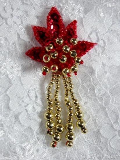 0073 Red Gold Leaf Dangle 3\ Sequin Beaded Applique 0073