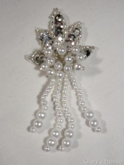 0073 Silver & Pearl Leaf Dangle 3\ Sequin Beaded Applique 0073
