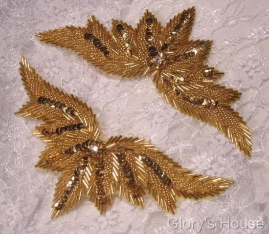 High Quality Sequin Bugle Beaded Applique Gold Rhinestone Center Clothing Patch Motif 7 0084