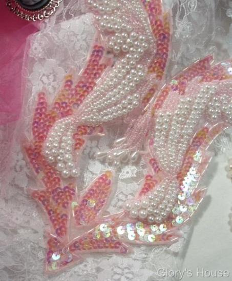0047  Pink & Pearl Bodice Sequin Beaded Applique