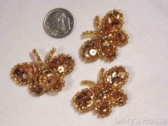 T9516  Set of 3 Gold Butterfly Sequin Beaded Applique 1.5\