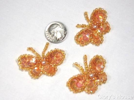 T9516  Set of 3 Peach Butterfly Sequin Beaded Applique 1.5\