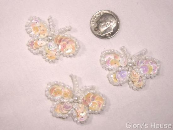 T9516  Set of 3 White Ab Butterfly Sequin Beaded Appliques 1.5\
