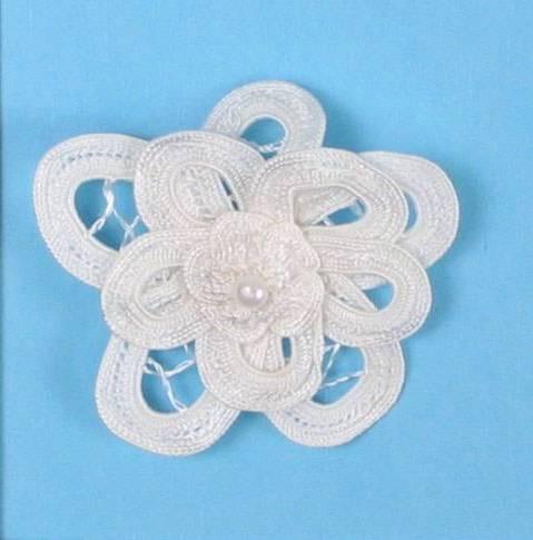 E5552 White Double Floral Bouquet Applique 2.5\