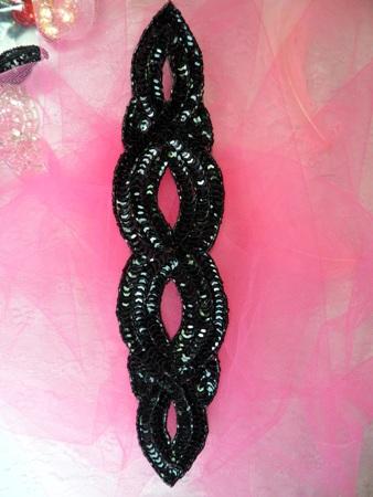 FS400 Black Designer Sequin Beaded Applique 11\