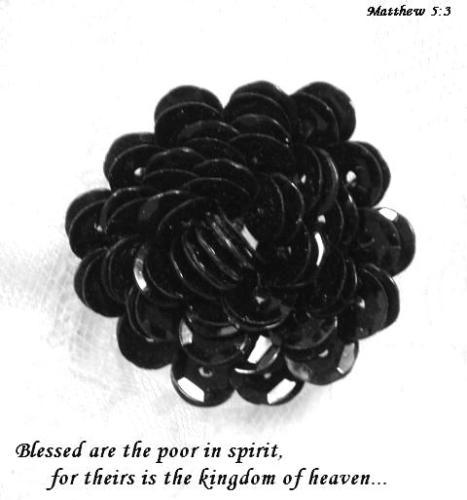 A0211D   Black Floral Sequin Applique 1.25