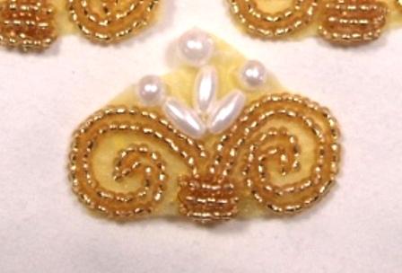 """A0270 Elegant Gold Pearl Beaded Applique 1.75"""""""