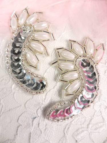 A0309 Silver Pearl Mirror Pair Sequin Beaded Applique 2.25\