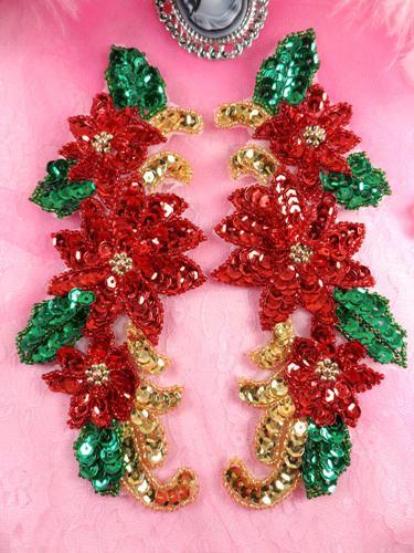 Christmas Poinsettia Beaded Sequin Mirror Pair Appliques (XR373X)