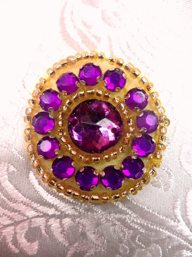 ACT/0379 Applique Mulberry Rhinestone Round Gold Beaded 1.25\