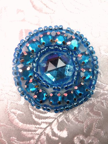 ACT/0379 Applique Turquoise Rhinestone Round Turquoise Beaded 1.25\