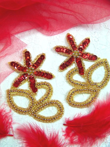 A0416A Gold Red Floral Mirror Pair Beaded Sequin Appliques 4