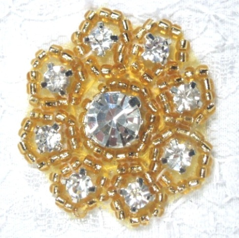A0429A  Gold Beaded Rhinestone Floral Applique 1-3/8