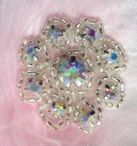 A0429A  Crystal AB Rhinestone Floral Silver Beaded Applique 1-3/8