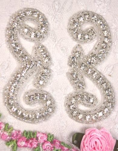 RMA0469C REDUCED Silver Beaded Crystal Rhinestone Appliques Mirror Pair