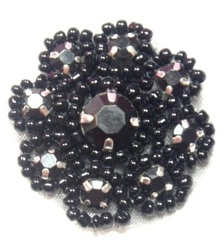 A0474A   Black Rhinestone Jewel Floral Applique 1.25\
