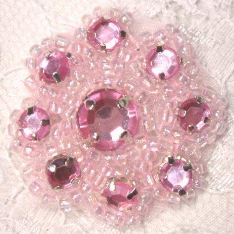 A0474A  Pink Rhinestone Jewel Floral Applique 1.25\