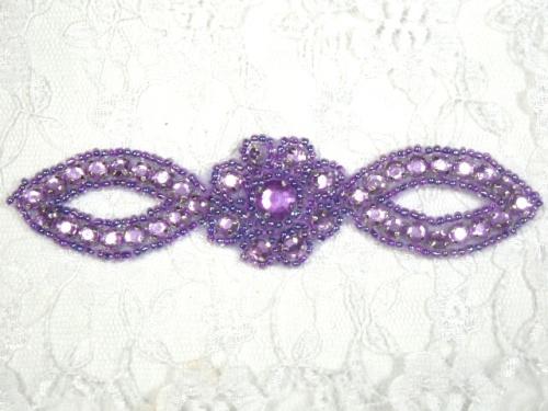 A0474C   Lavender Jewel Rhinestone Beaded Floral Applique 5\