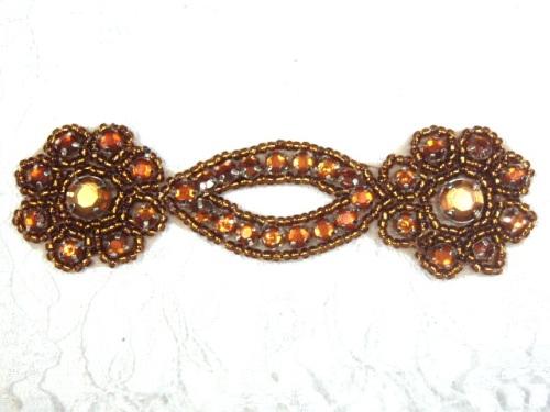 A0474D  Bronze Jewel Rhinestone Beaded Floral Applique 4.25