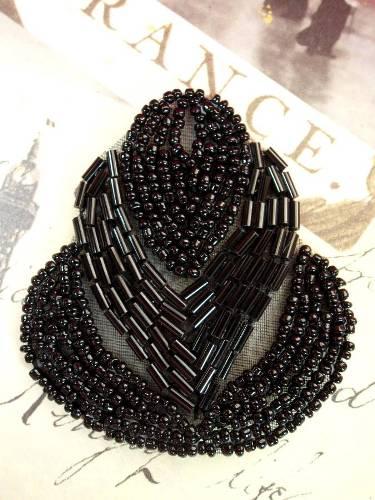 A0501 Black Beaded Designer Applique 2.5\