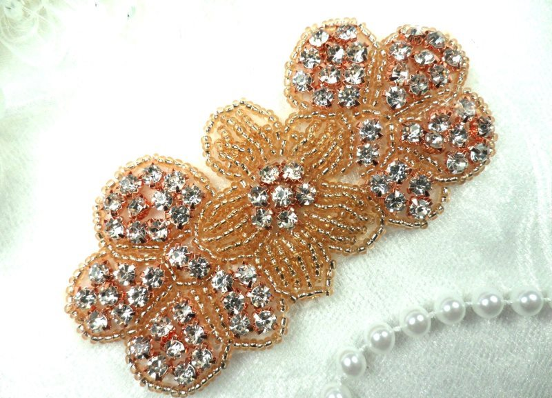 Rose Gold Applique Crystal Rhinestone Beaded Flower Patch Floral 3.75 (ACT/DH55-rsglcr)