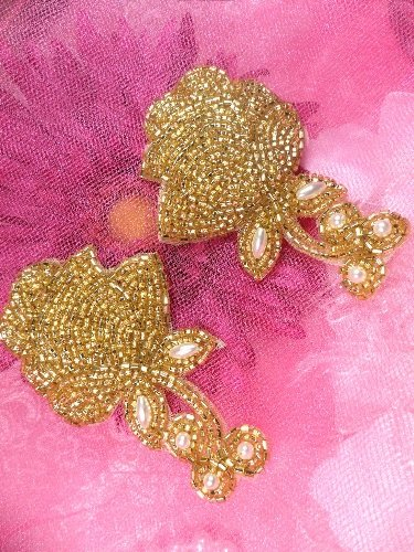 ACT/FS4844 Gold Pearl Rose Mirror Pair Beaded Appliques
