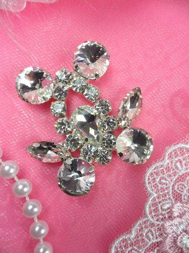 ACT/XR163-B  Silver Crystal Rhinestone Applique Embellishment 1.75\