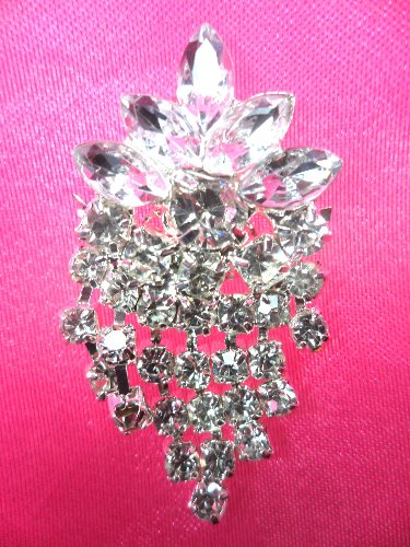 ACT/XR185 Crystal Rhinestone Applique Glorious Dangles Silver Embellishment  1.5