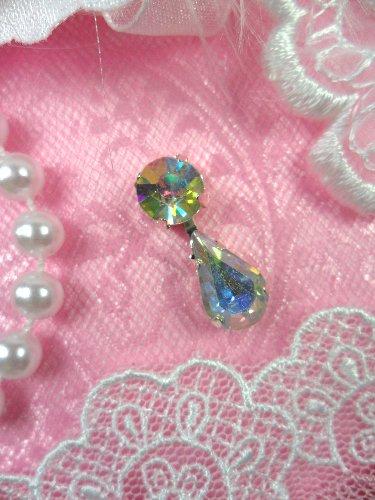 ACT/XR281 Petite Rhinestone Tear Drop Dangles Glass Crystal Aurora Borealis AB Embellishment  .75\