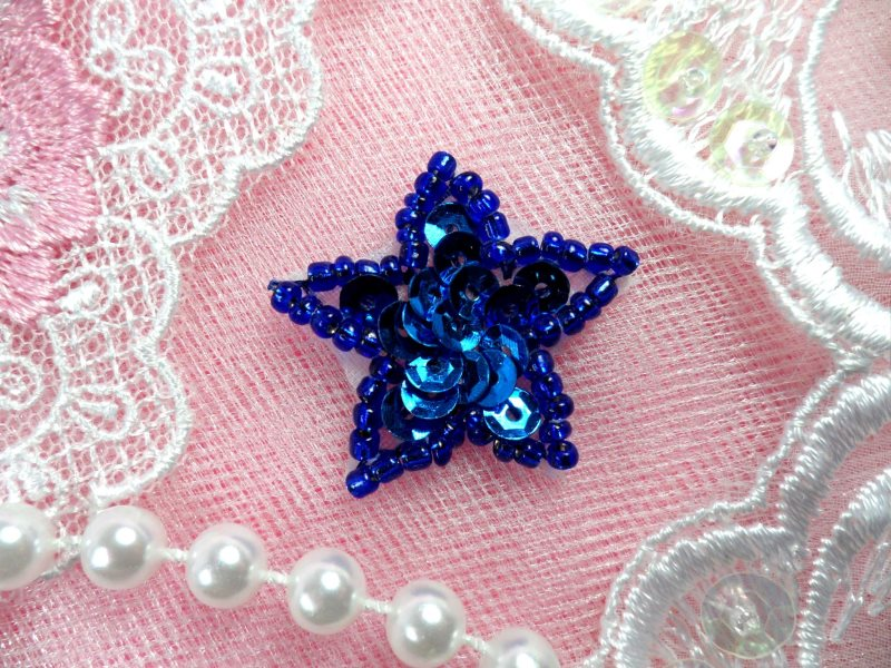 Star Applique 1 Inch Blue Sequin Beaded Patch Iron On Petite (ACT/XR359-bl)