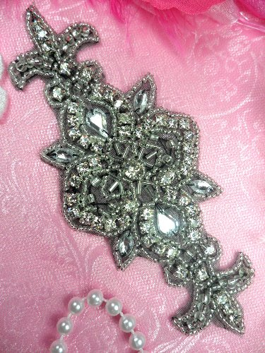 RMACT/XR75/A  REDUCED Black Backing Silver Beaded Crystal Rhinestone Applique 5.75