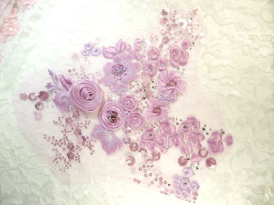2dc8ff61617 Embroidered 3D Applique Lavender Floral Cluster (ACT/DH77C)