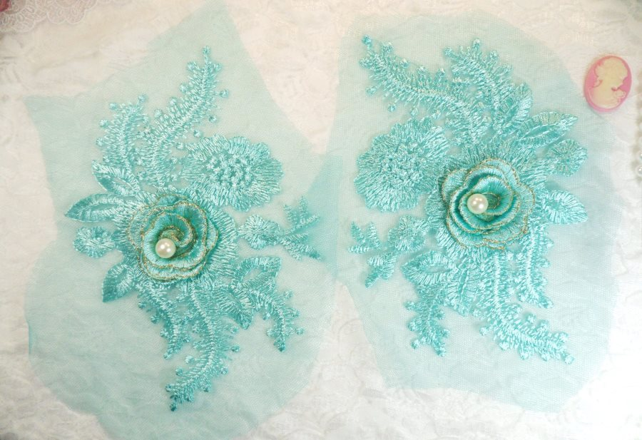 Teal 3D Embroidered Floral Venise Lace Mirror Pair With Pearl Applique 7 (ACT/GB531X)