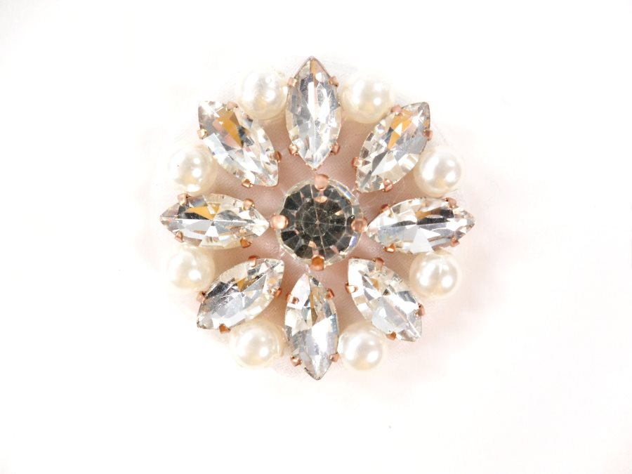 Rose Gold Settings Crystal Rhinestone Flower with Pearls Floral Iron On Patch 1.25  ACT/GB738