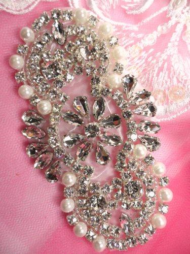ACT/JB180/A Crystal Rhinestone Applique Silver Beaded w/ Pearls 7\