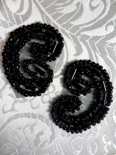 ACT/XR103/B Set of ( 2 ) Curled Black Beaded Appliques 1.25\