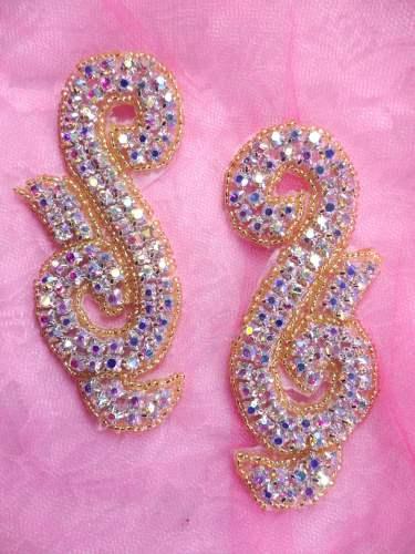 ACT/XR130/A Gold Backing Crystal AB Aurora Borealis Mirror Pair Gold Beaded  Rhinestone Appliques CUT